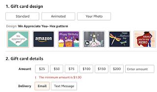 Amazon gift card amounts to choose