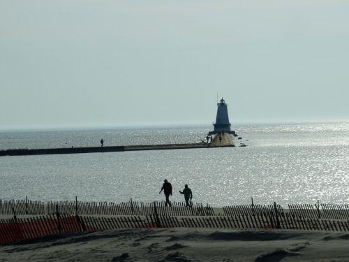 Ludington beach and lighthouse