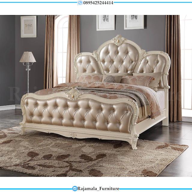 Tempat Tidur Mewah Putih Duco Luxury Carving Best Seller RM-0452