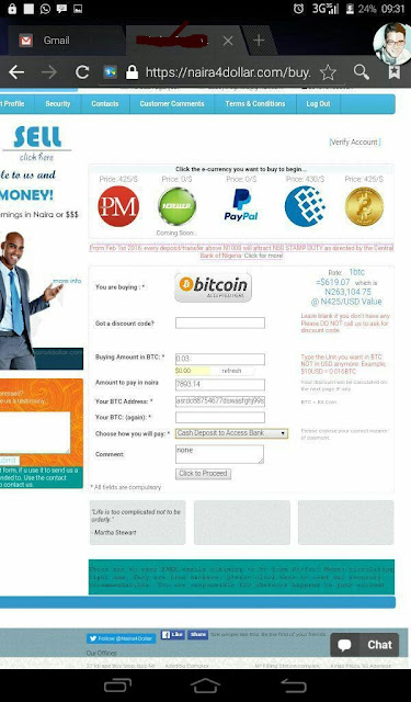 funding Bitcoin wallet with naira4dollar