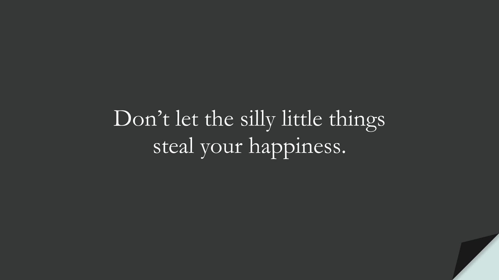 Don't let the silly little things steal your happiness.FALSE