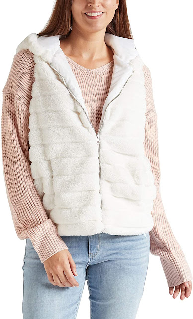 White Faux Fur Vests For Women with Hood