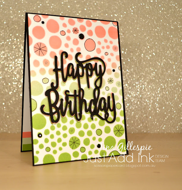 scissorspapercard, Stampin' Up!, Ranger, Just Add Ink, Genuine Gems, Happy Birthday Thinlit, Holes Small Stencil