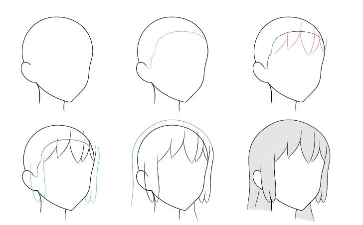 Anime rambut panjang 3/4 tampilan menggambar langkah demi langkah