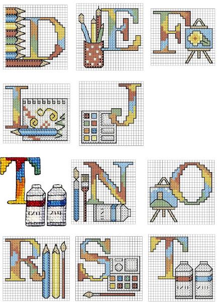 alfabeto  e Lettere a punto croce per scuola e asilo