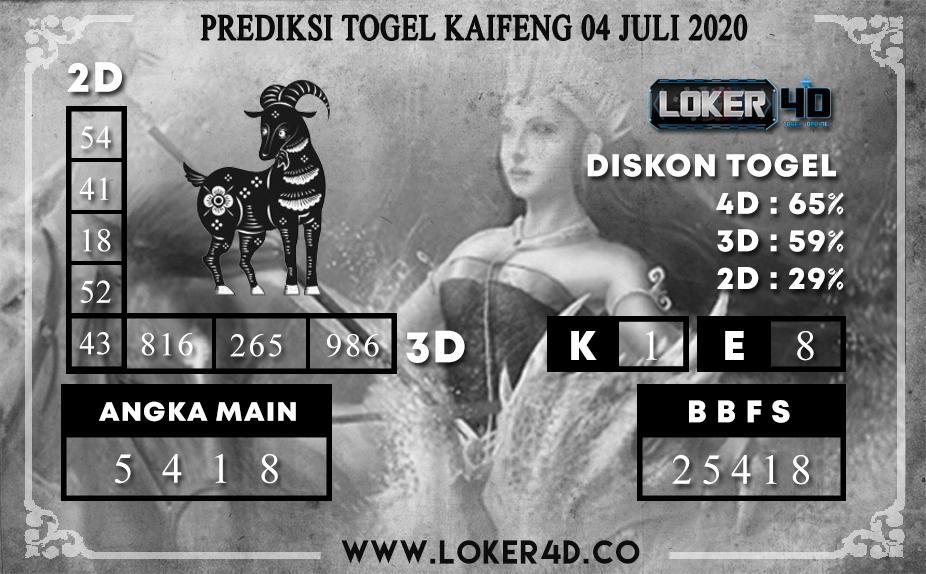 PREDIKSI TOGEL LOKER4D KAIFENG 04 JULI 2020