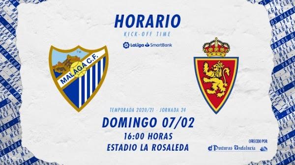 El Málaga - Zaragoza, el domingo 7 de Febrero a las 16:00 horas