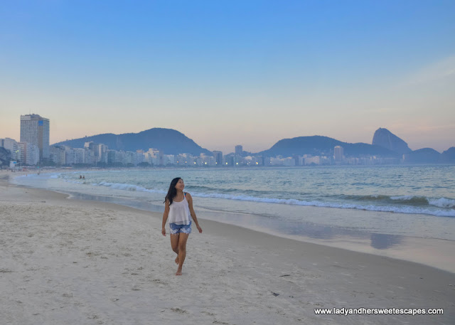 A quiet and empty Copacabana at sundown