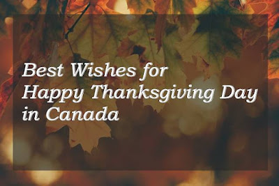 Best wishes for happy thanksgiving day in Canada text on maple leaf background.