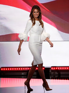Melania Trump at the RNC in a Roksanda Ilincic white knee length dress with puffer sleeves