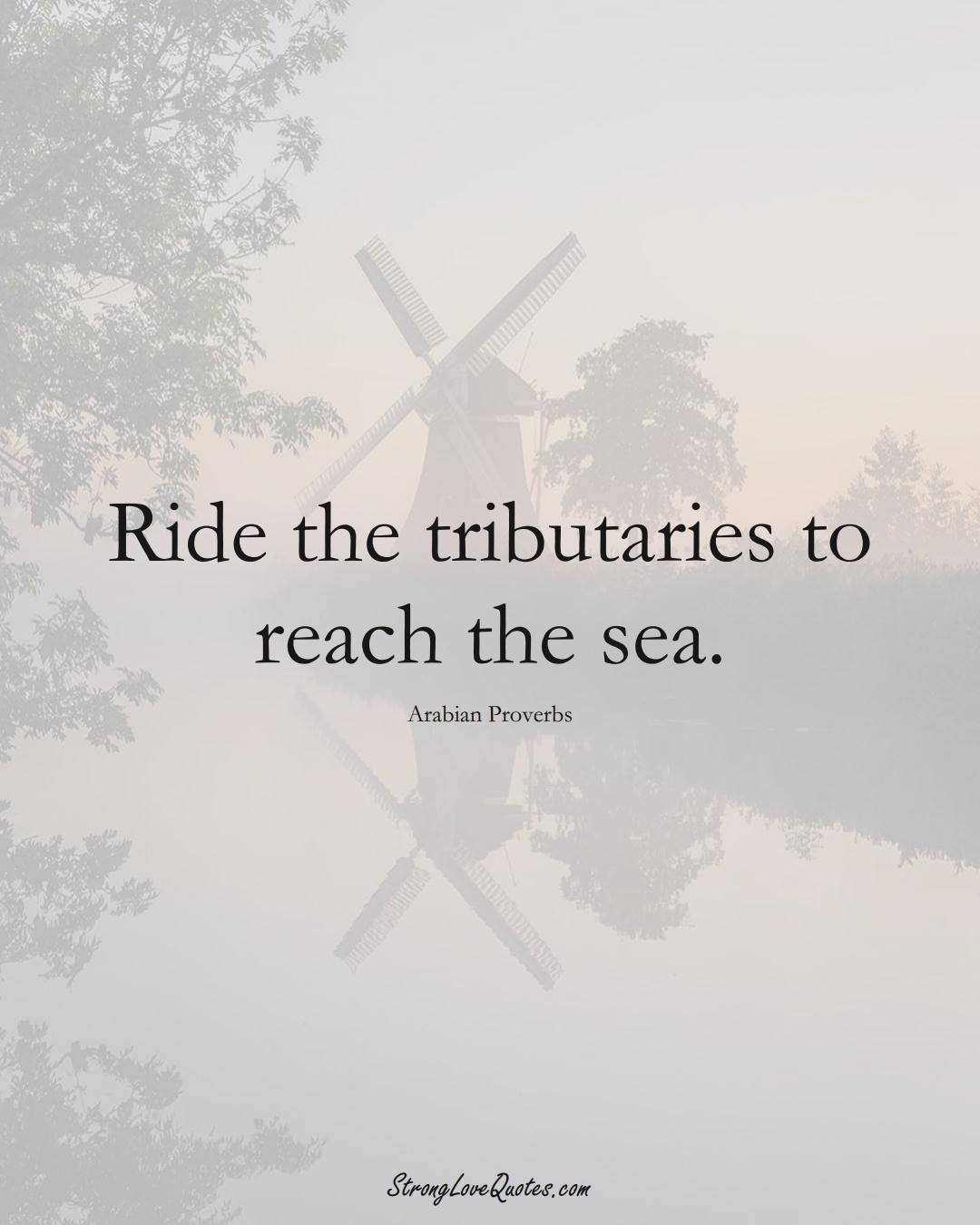Ride the tributaries to reach the sea. (Arabian Sayings);  #aVarietyofCulturesSayings