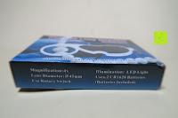 Verpackung Seite: Einklappbare Alltags Lupe mit LED Licht - Kompakt und überall einsetzbar