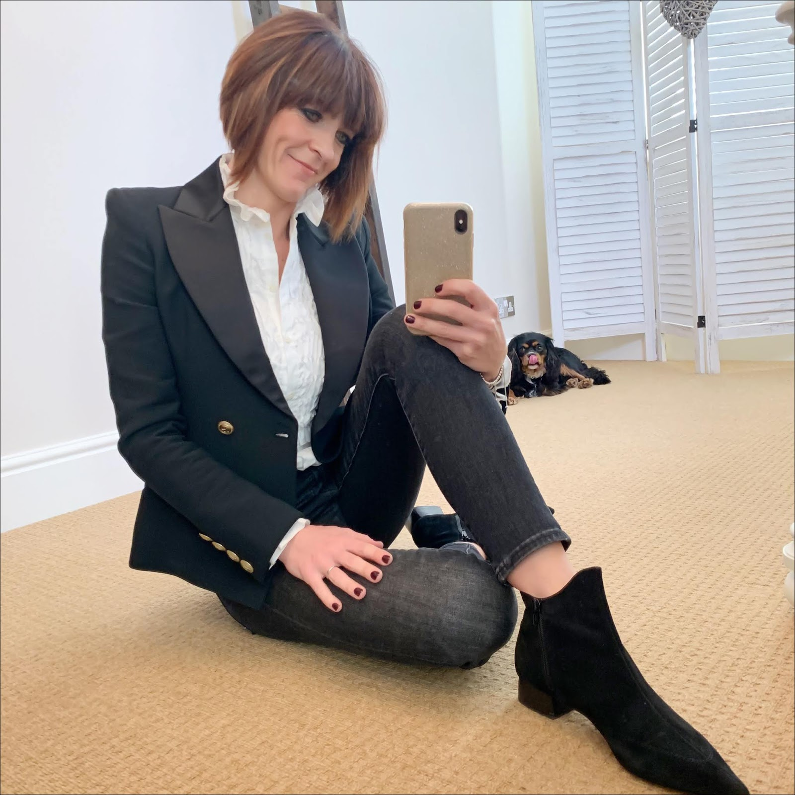 my midlife fashion, pierre balmain blazer, see by chloe ruffle blouse, the kooples studded belt, j crew 9 high rise toothpick jeans in grey, ark womens ankle boots