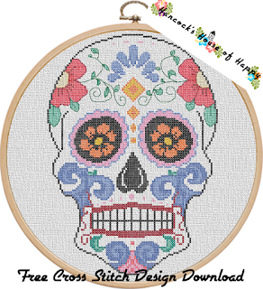 sugar skull cross stitch pattern free to download