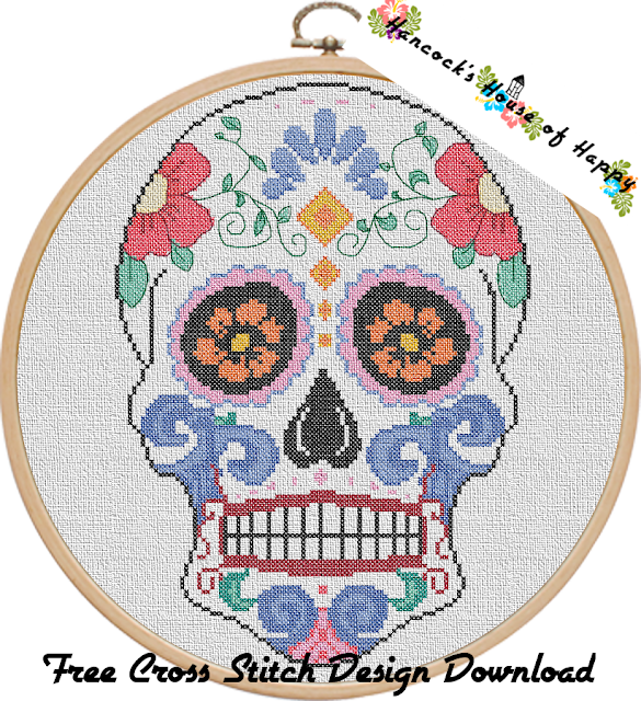 Día de Muertos Calaveras (Day of the Dead) Free Sugar Skull Cross Stitch Pattern to Download