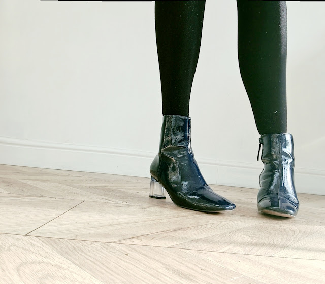 Zara blue patent ankle boots clear heel winter fashion