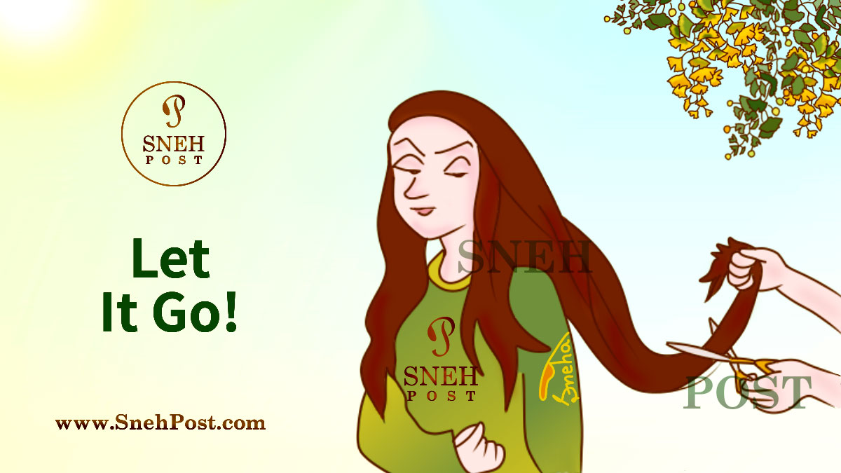 How to move on guide with illustration of let it go as the firm determined girl allowing to cut her long hair