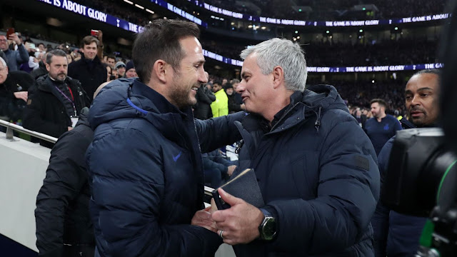 Chelsea manager Frank Lampard and Tottenham boss Jose Mourinho during a Premier Legaue match