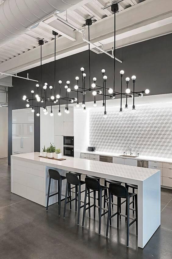 cozinha moderna com papel de parede 3d