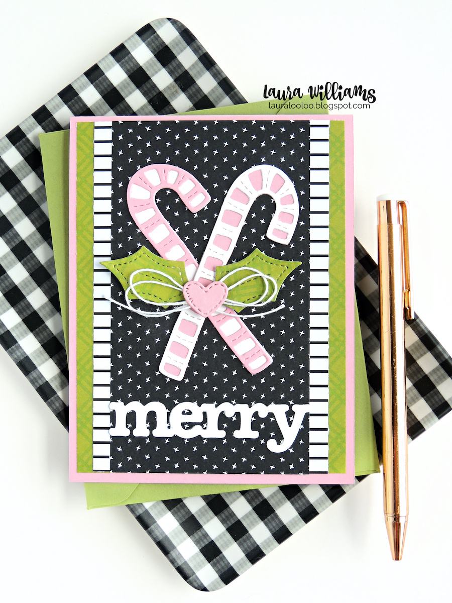 Make a Merry Christmas handmade card with candy canes, using the Primitive Candy & Holly Die Set from Impression Obsession. Click on over to my blog, Laura Looloo, to see ideas using this die set for homemade holiday cards and crafts.
