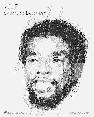 Vector Sketch Potrait Chadwick Boseman