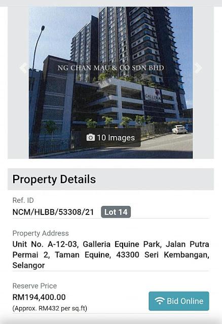 Studio dekat AEON dijual pada harga lelong RM194 ribu