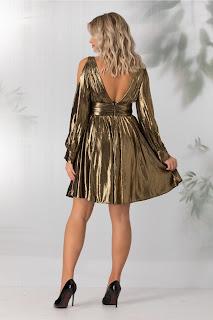 Rochie de seara auriu metalizat cu decolteu in V