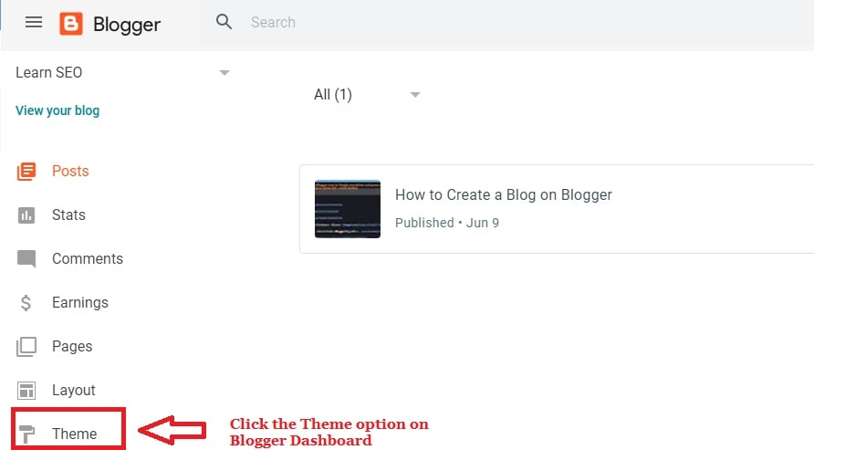 Select new theme in blogger