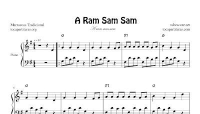 Eram Sam Sam Partitura de Piano Fácil con acordes en letra