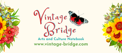 Vintage Bridge Arts and Culture Notebook by Bridget Eileen off-white background, reddish pink script, victorian decal of flowers