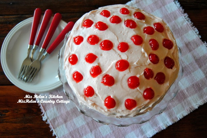 Cherry Cake with Cherry Frosting at Miz Helen's Country Cottage