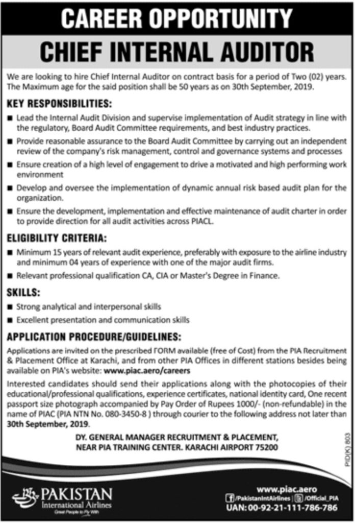 Pakistan International Airlines Latest Jobs 2019