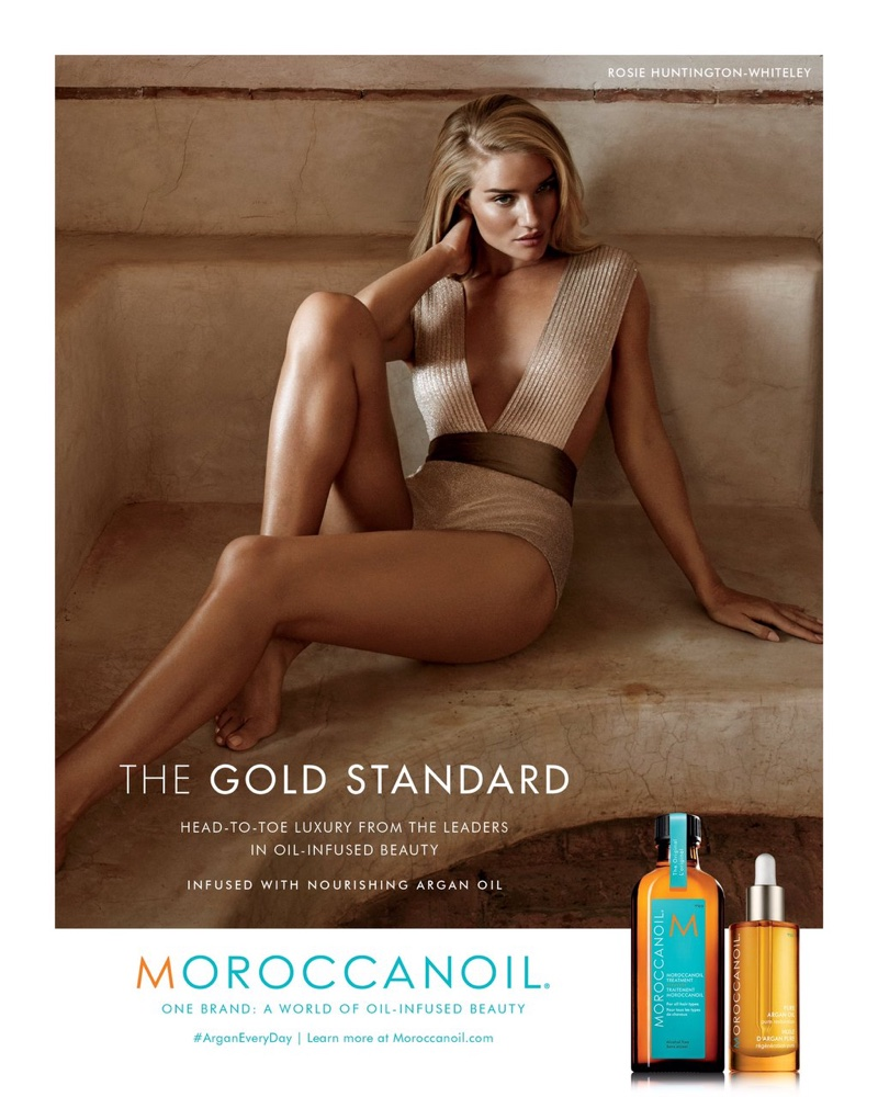 Rosie Huntington-Whiteley bares legs for Moroccan Oil Campaign