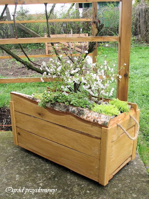 dekoracje do ogrodu, drewniana pergola, drewniana donica, donica z desek, drewniana skrzynka, ogród przydomowy