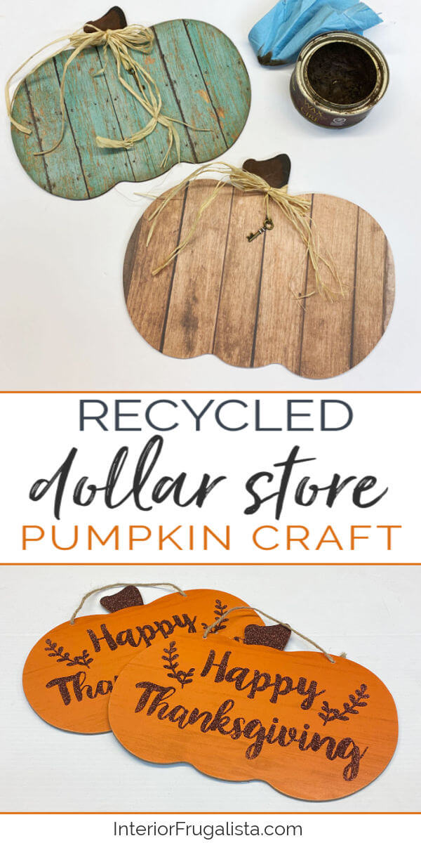 These rustic barn wood pumpkins by Interior Frugalista look like the real thing but they are faux wood. Made with recycled dollar store pumpkin signs and decoupage paper. #dollarstorecraft #pumpkincraft