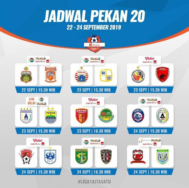 Jadwal Liga 1 2019 Pekan 20