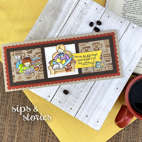 Coffee and Books Card by Jennifer Jackson | Sips & Stories Stamp Set, Mugs Stencil, Slimline Frames & Windows Die Set by Newton's Nook Designs #newtonsnook #handmade