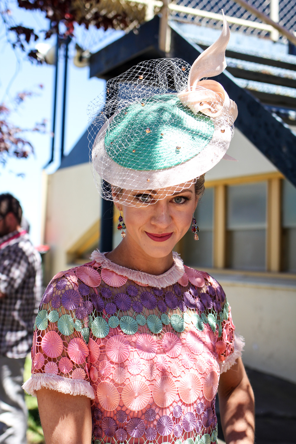 Georgina McKerrow wearing a beautiful hat by Louise Macdonald Millinery