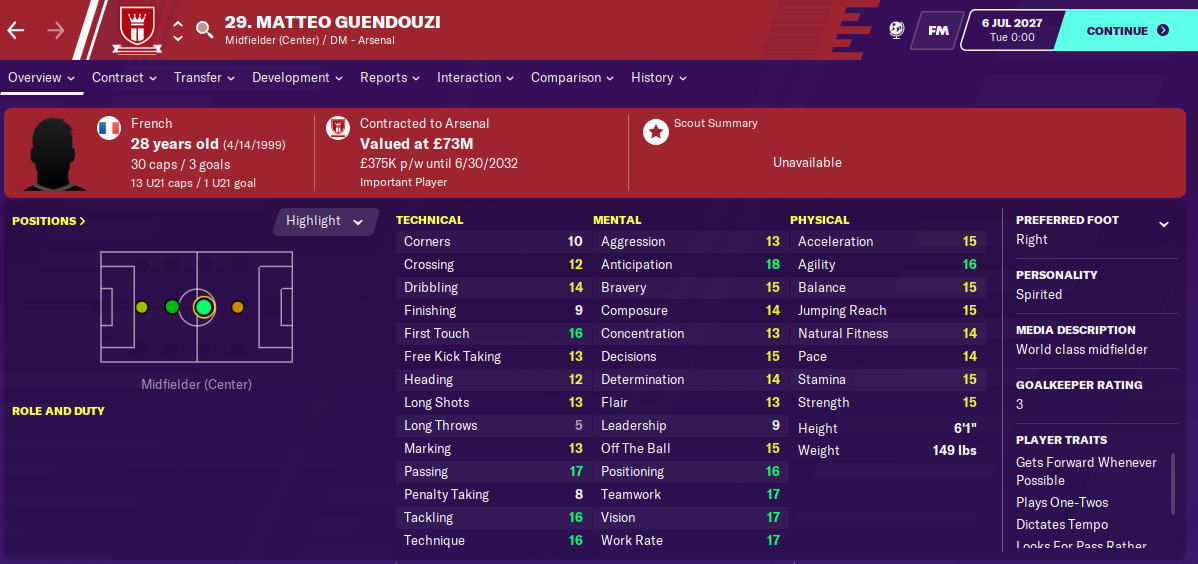 Matteo Guendouzi: Attributes in 2027 season
