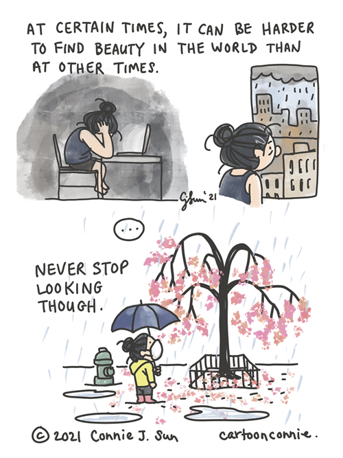 Sketchbook comic about times when it is harder to stay upbeat and positive, mental health awareness cartoon, by Connie Sun, cartoonconnie