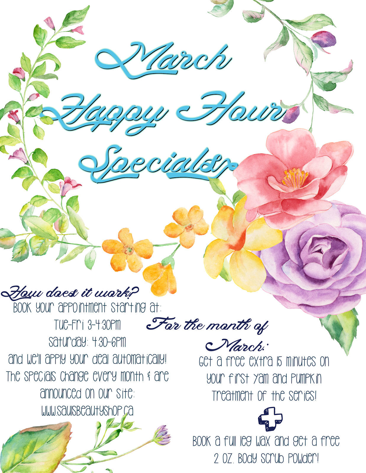 March Happy Hour Specials Sauls Beauty Shop