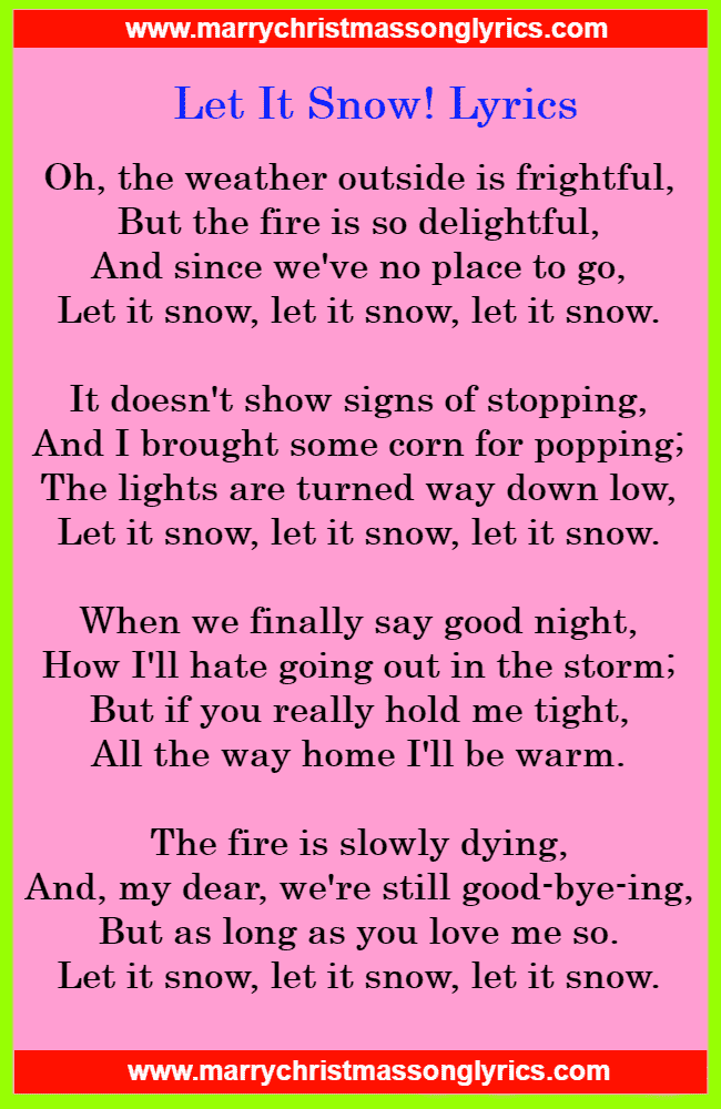 Let It Snow Lyrics Image