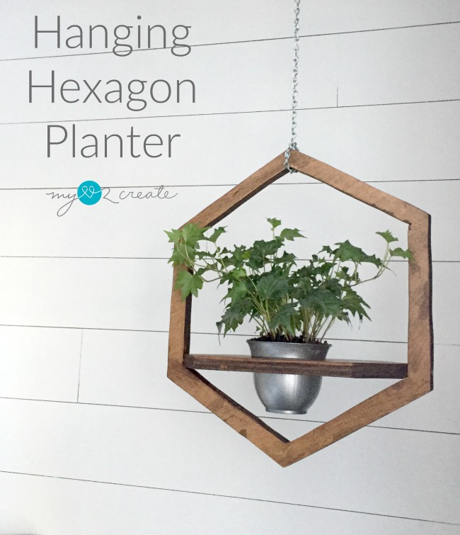 Make a beautiful Hanging Hexagon Planter out of scrap plywood, tutorial at MyLove2Create.com