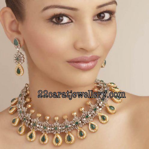 Model With Gorgeous Art Karat Emerald Choker Jewellery