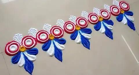 blue and white border rangoli design