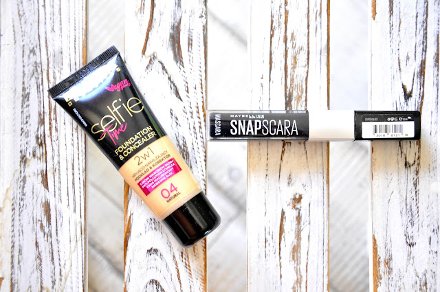 podkład eveline selfie time foundation&concealer, tusz do rzęs maybelline snapscara