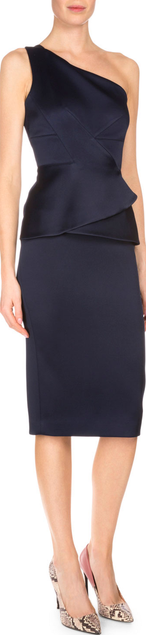 Roland Mouret One-Shoulder Double-Face Satin Dress, Navy
