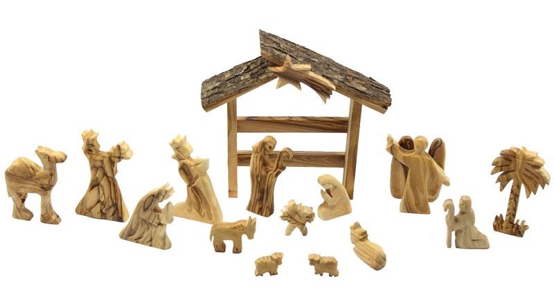 natural wooden nativity set