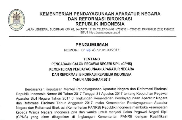 MENPAN - Soal dan Pendaftaran CPNS Kementerian Pendayagunaan Aparatur Negara dan Reformasi Birokrasi 2017
