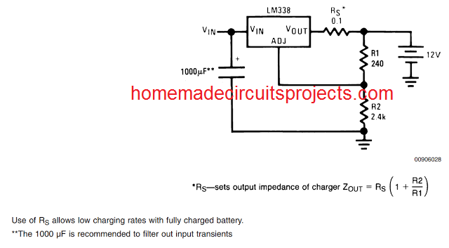 battery charger application using LM338 IC